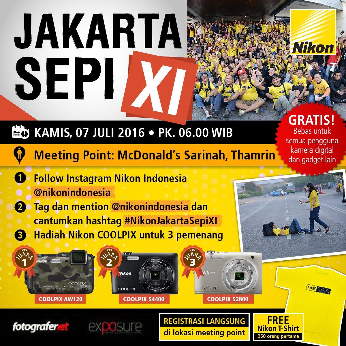 #JakartaSepi2016 + Lomba Foto #NikonJakartaSepiXI Kamis 7 Juli 06:00 McD Sarinah https://t.co/TpYiJF9rSi #FN13 https://t.co/6soy9mYATx