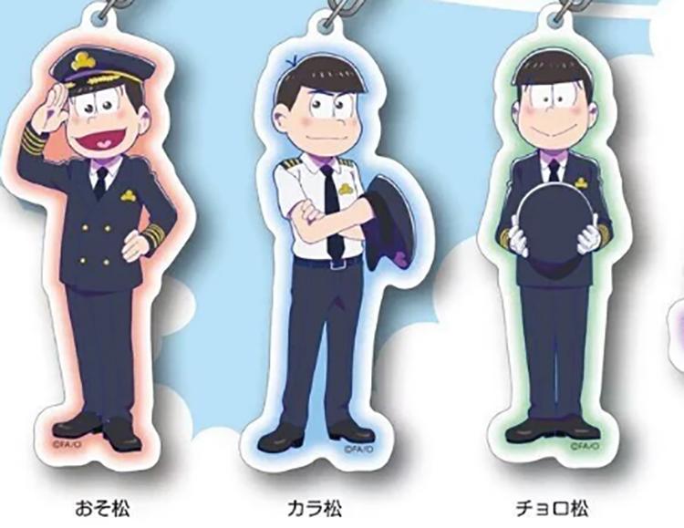 4本線:機長:おそまつ 3本線:副操縦士:からまつ、チョロまつ 2本線:航空機関士 1本線:航空士、無線通信士、訓練生など