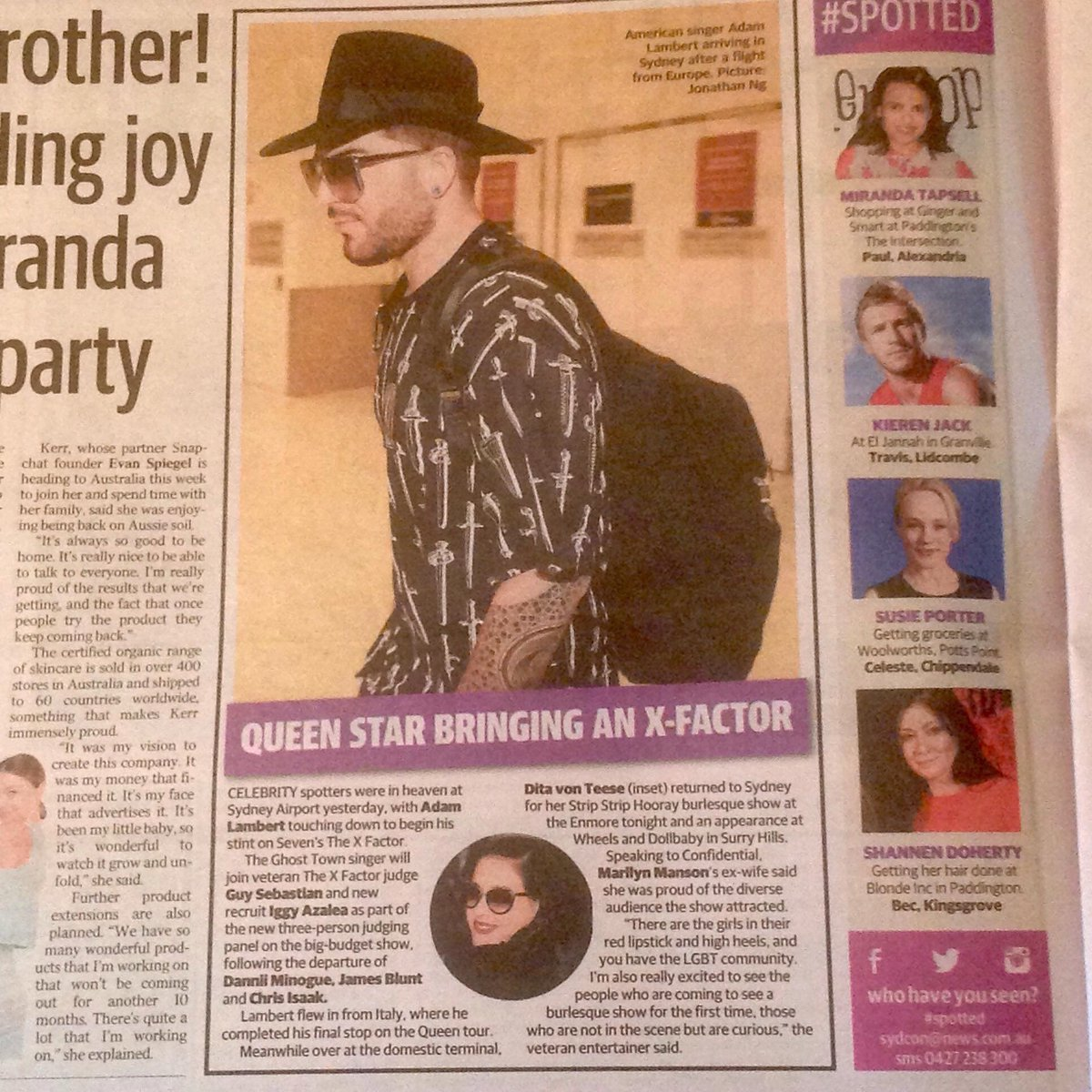 Adam Lambert Brings The X Factor in Oz Daily Telegraph - pic by Ainslie Watson https://t.co/Zwy6aOZAme