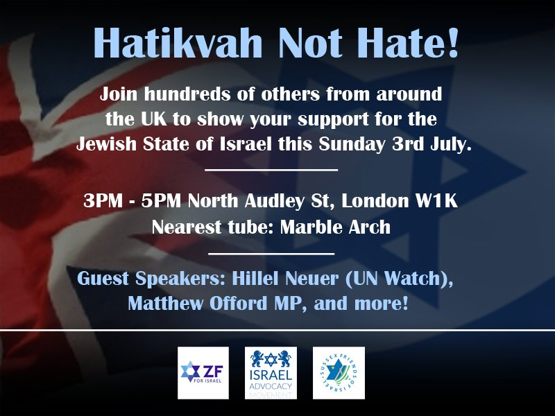 Let's show the world that Britain stands with Israel this Sunday. https://t.co/PXHEQFgqP0 @SussexFriends https://t.co/6JJc7ZxkjB