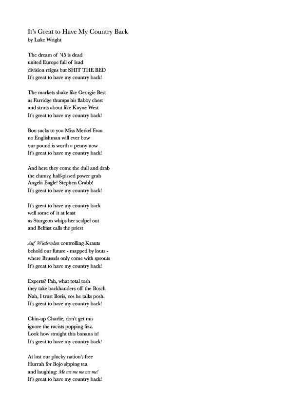 I don't know about you, but IT'S GREAT TO HAVE MY COUNTRY BACK!!! New Poem: https://t.co/PCFGEwFIk5 https://t.co/l7TStD8S0k