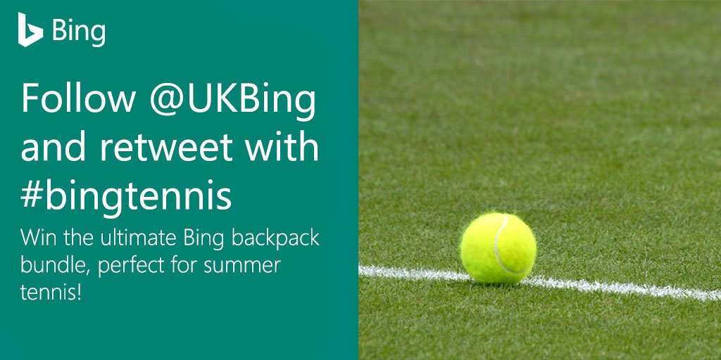 Win the ultimate summer tennis backpack! Follow us & RT this post with #bingtennis to enter https://t.co/WRsyV1ipFA https://t.co/JUQBcwv3UM