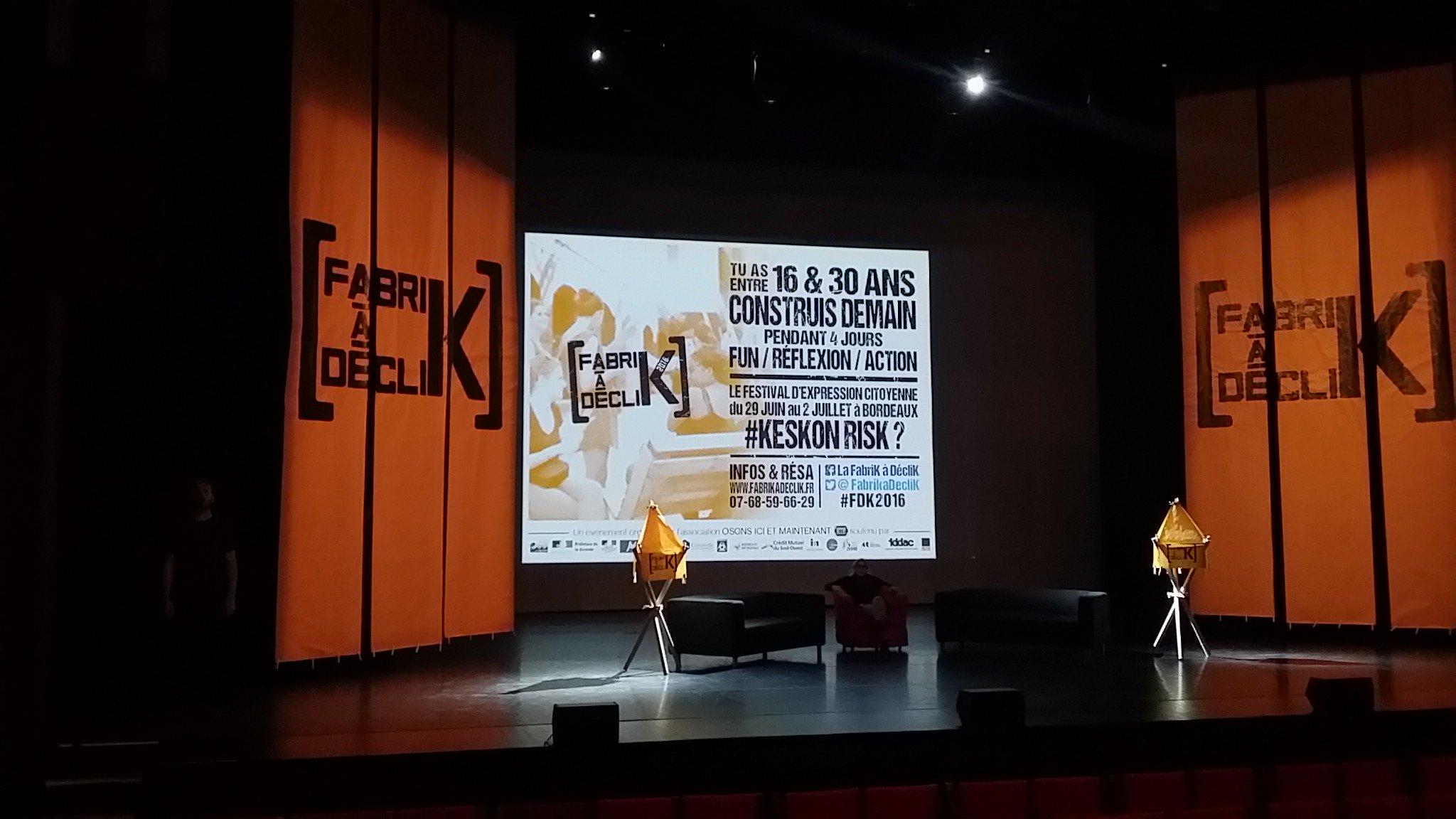 Ca se prépare... Rdv à 18h pour le lancement de la @FabriKaDecliK au @RocherdePalmer #FDK2016 https://t.co/ahb8j22hX6