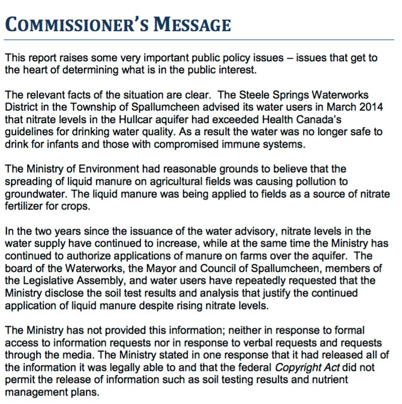 Breaking: Liberal #bcgov broke laws by hiding info about Spallumcheen water polluted by manure. #bcpoli #cdnfoi https://t.co/Ujn4Ky6d8x