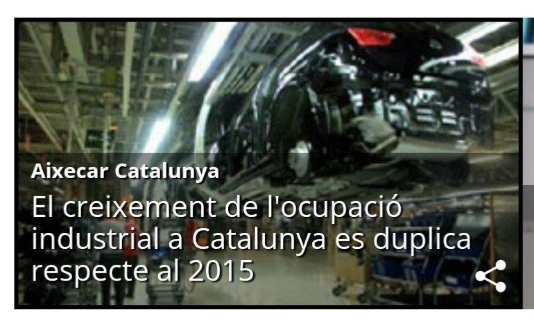 El creixement de l'ocupació industrial a Catalunya es duplica i se situa en la taxa més alta dels últims 10 anys
