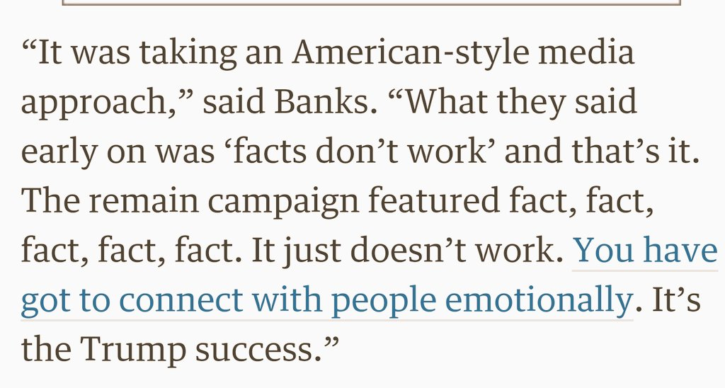 "Leave campaign's biggest donor says ""facts don't work"" and they took an American approach #EUref https://t.co/5hodbXkDRw"