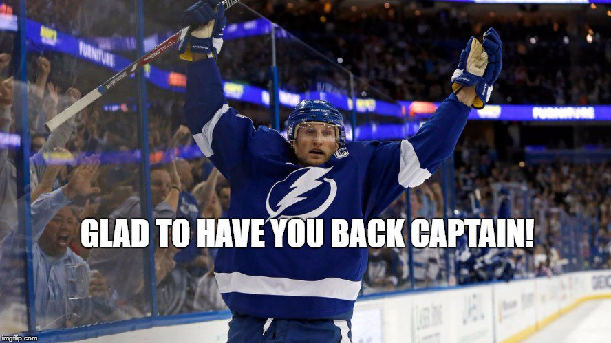 Happy To Have You Back @RealStamkos91   #Stamkos #TeamTampaBay https://t.co/jqYAOKcSL5