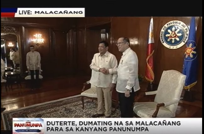 President-elect Duterte and outgoing President Aquino at the Palace #Panunumpa https://t.co/udt0qX6SBg