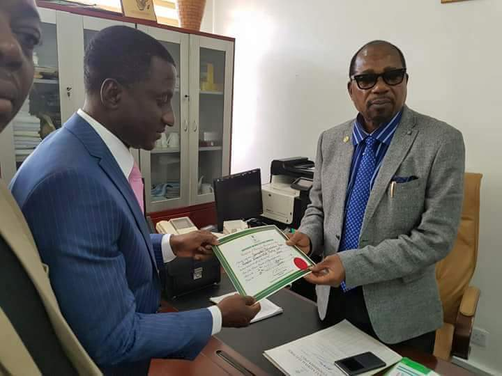 INEC has issued a Certificate of Return to Uche Ogah as the new Governor of Abia State [Courtesy Sahara Reporters]