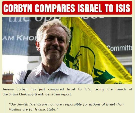 Only Jeremy Corbyn could use the launch of a report on Labour Antisemitism to casually compare Israel to ISIS https://t.co/xXO3an4YOy