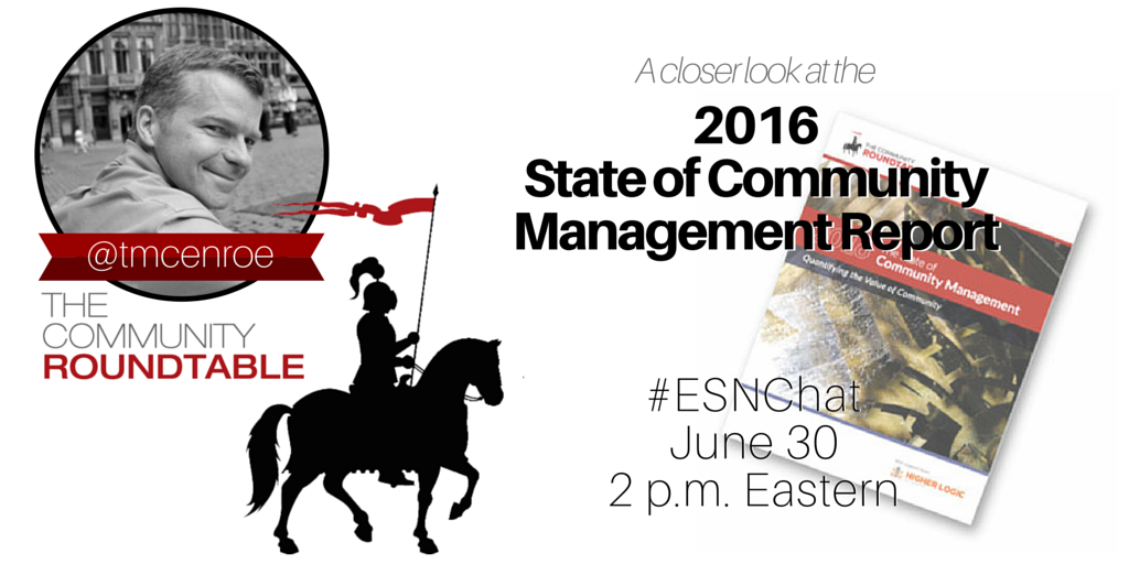 Today on #ESNchat we'll be discussing your #ESN and the #SOCM2016 Report with @tmcenroe from @TheCR. https://t.co/jH1xlp19tV