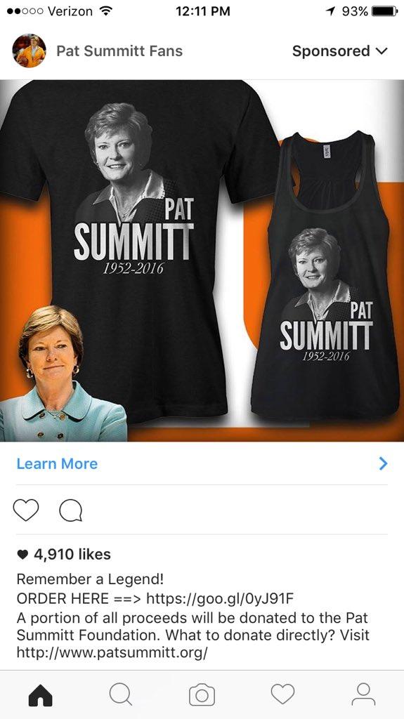 Pat summitt fnd on twitter multiple summitt memorial for Pat summitt foundation t shirts