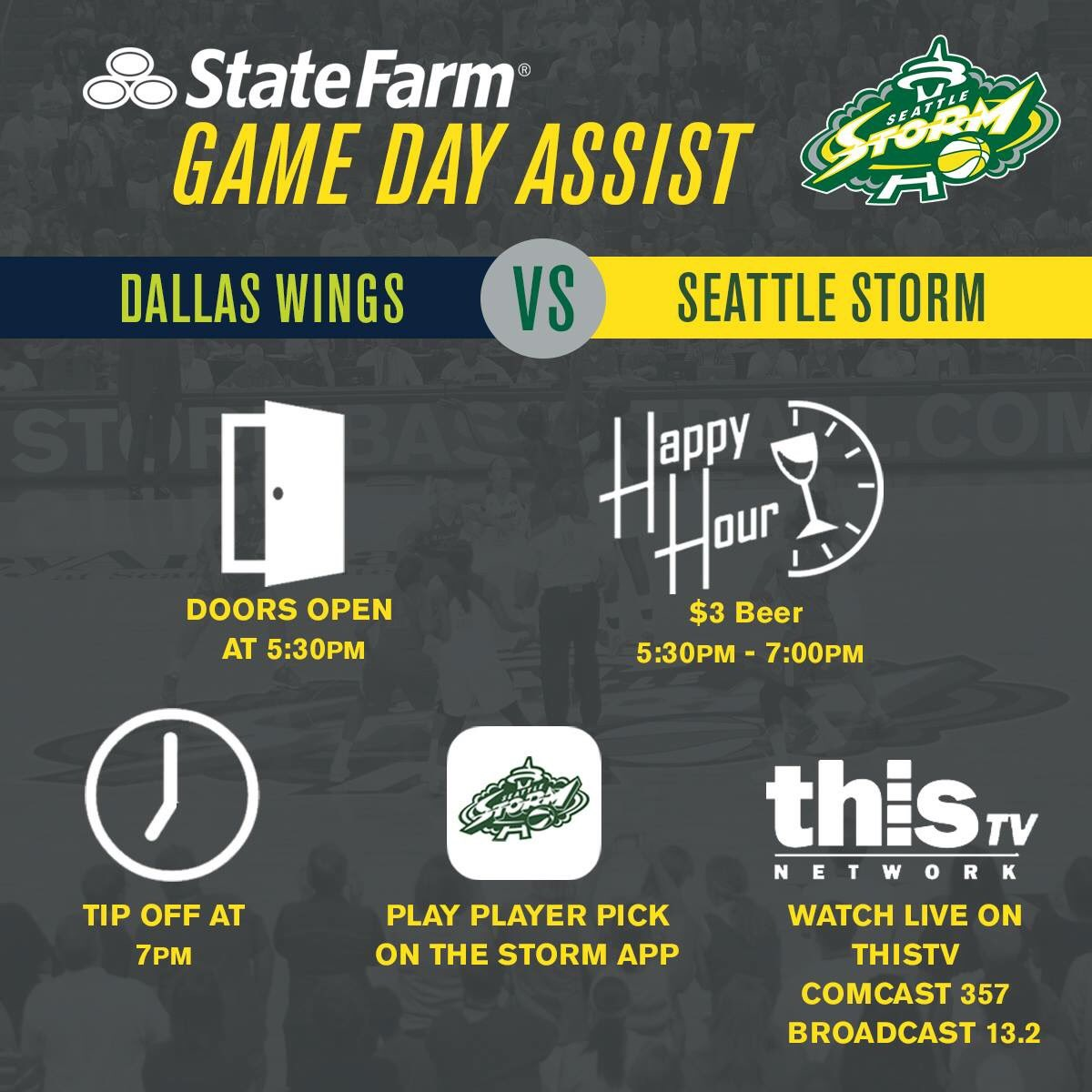 """seattle storm on twitter: """".@statefarm game day assist   join us for"""