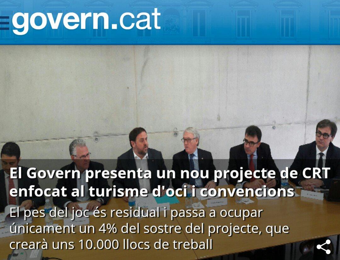 El Govern presenta un nou projecte de CRT enfocat al turisme de convencions, d'oci, de compres i espectacles