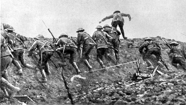 The Whistles Blow over the top the Brave men go, we will never forget what you did for us all   #Somme100 https://t.co/lNG52biunT