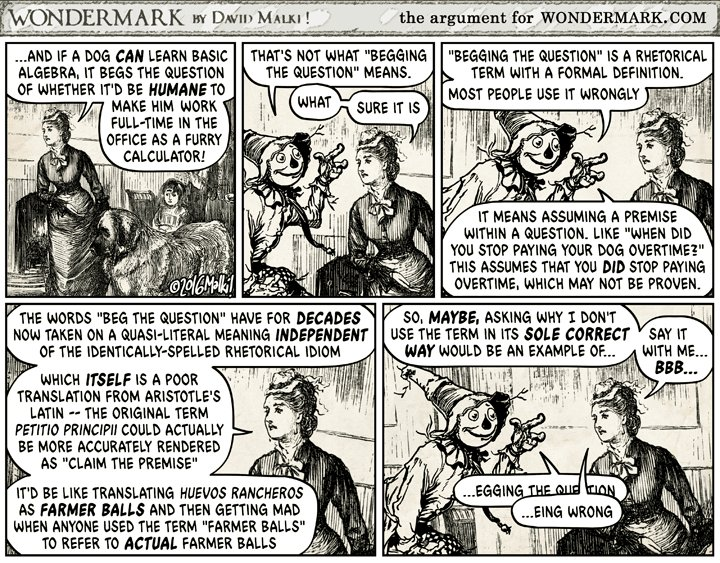 """Wondermark Comics on Twitter: """"""""That's not what 'begging the ..."""