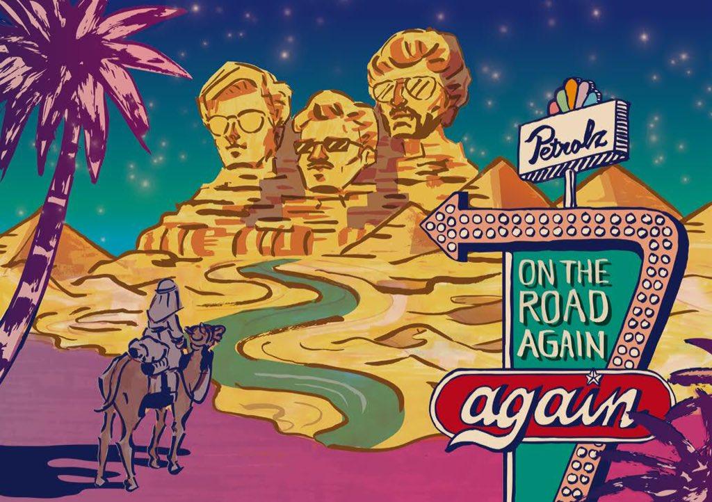 """こんばんはペトロールズです。来たる我々のツアー""""On The Road Again Again""""の詳細が決まってまいりました。そしてビジュアルも。こりゃ楽しくないわけない! https://t.co/Rw27IIgGxr https://t.co/QbxwIAQVFA"""