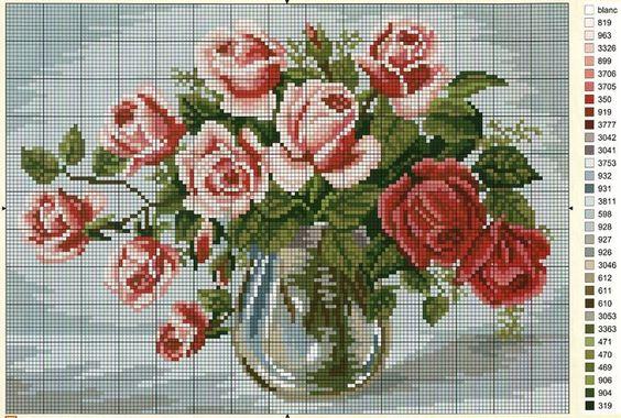вышивка крестом роз для начинающих