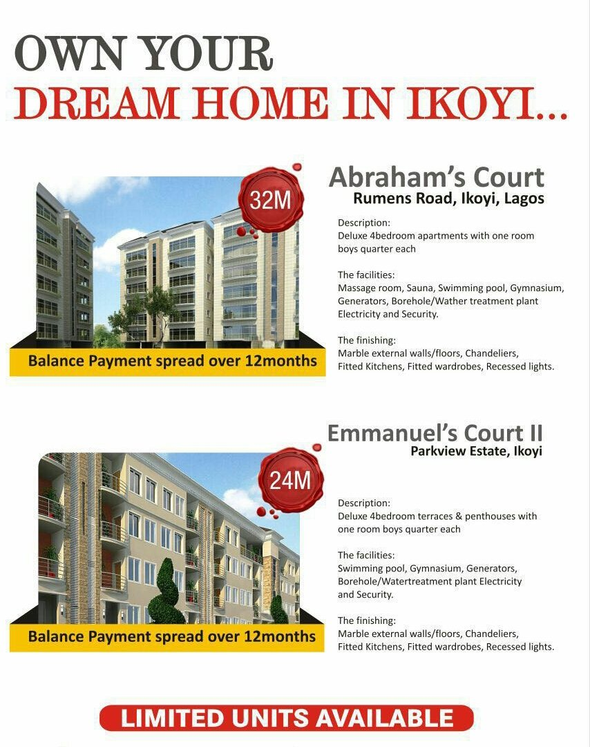 Apartments For Sale in Ikoyi (Off Plan). Dm for more information. Pls RT https://t.co/A82au3wloq