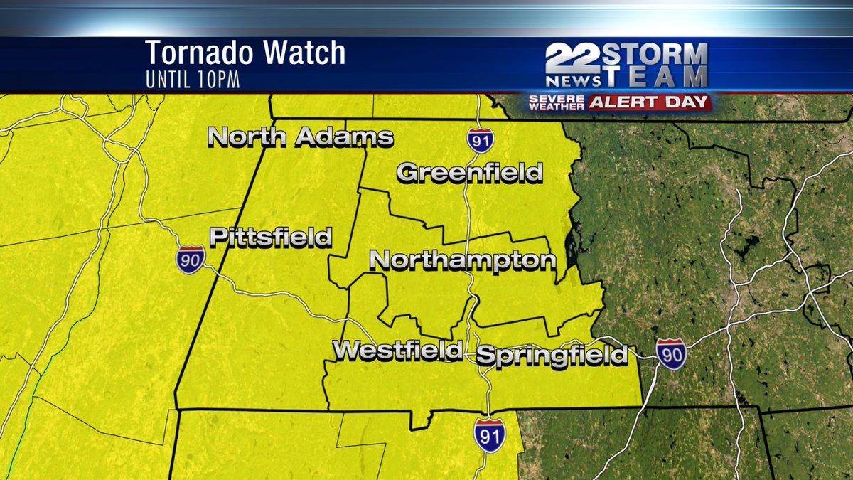 Tornado Watch for all of Western Massachusetts until 10pm. Updates at https://t.co/gmoGdRqrog https://t.co/vUDTZqlQr5