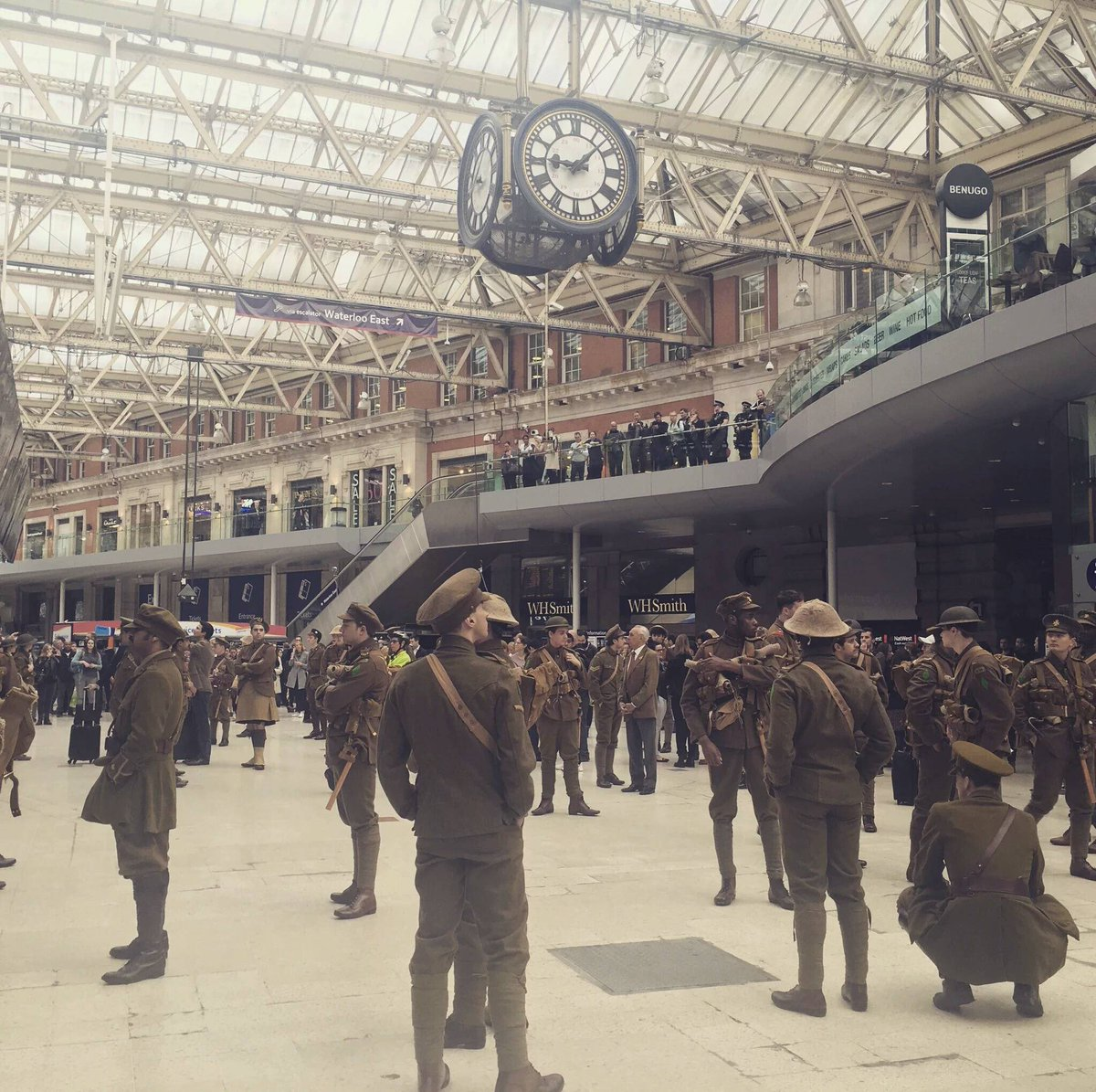 Waterloo station this morning on the 100th anniversary of the Somme: https://t.co/mxOtZ2uio9 https://t.co/p2bV7TCDkg