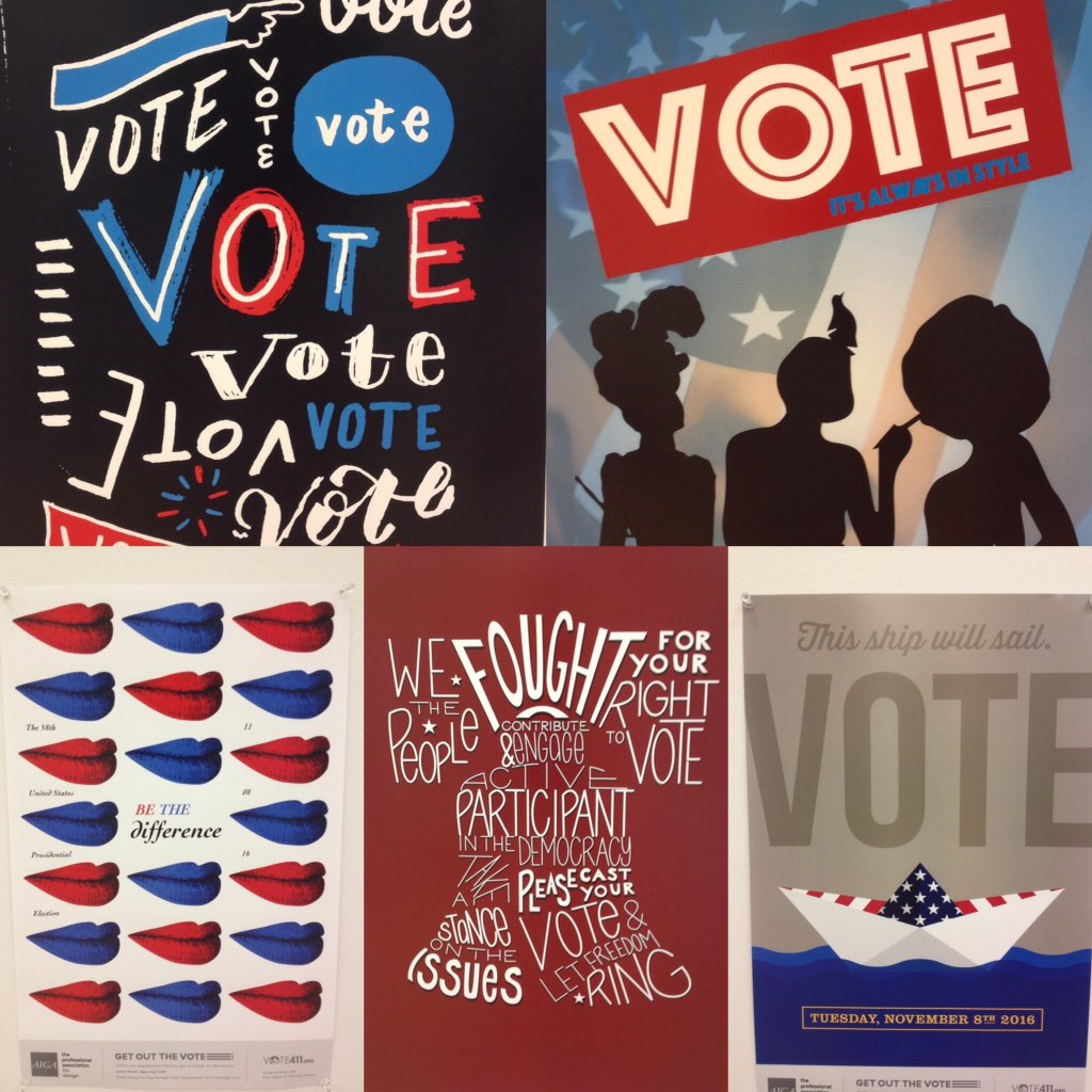.@AIGAdesign & @aigaphilly #GetOuttheVote #AIGAGOTV opened today @ Art Gallery at City Hall! @PhiladelphiaGov https://t.co/ebXNSyju9i