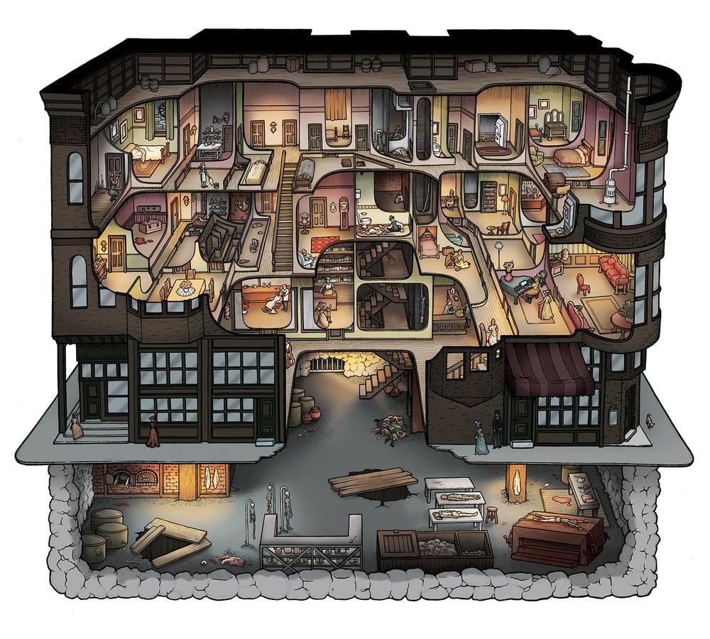 シリアルキラー展で知った、200人殺しの大量殺人鬼H・H・ホームズが作った殺人ホテルが想像以上にすごすぎて驚愕…全ての部屋が秘密の通路で繋がってて、覗き穴、隠し扉、ガス噴射装置等を完備