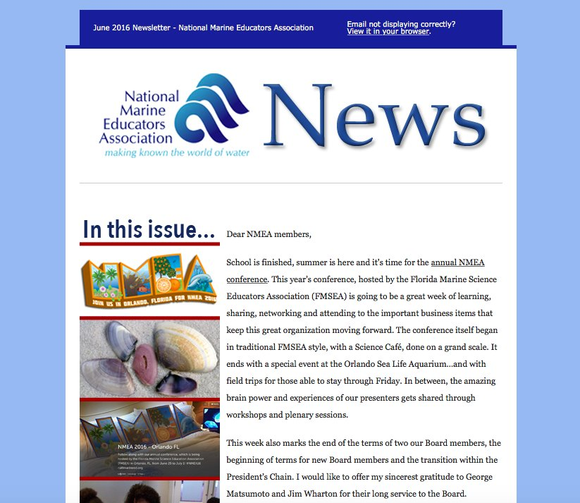 ICYMI: Our summer newsletter is out!  #NMEA16 in Orlando, Current Journal & more! 🌊  https://t.co/npkHNGxVe5 https://t.co/1UE94Aq0w6