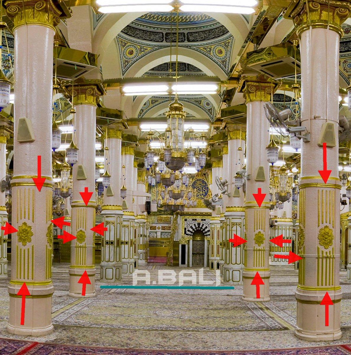 عبدالعزيز بالي Twitterissa العلامات أو الرموز في الحرم النبوي هذه العلامة تدل على حدود المسجد عندما بناه رسول اللهﷺ عام 1 هـ