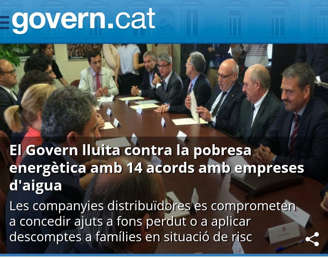 La Generalitat avança en la lluita contra la pobresa energètica amb la signatura de 14 convenis amb distribuïdores d'aigua