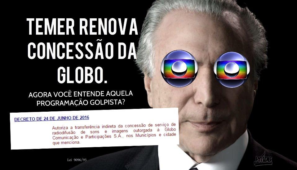 A fatura do Golpe: Temer renova concessão da Globo e autoriza que venda pra qualquerum https://t.co/jEtNseFpLs https://t.co/stuk1lV7nq