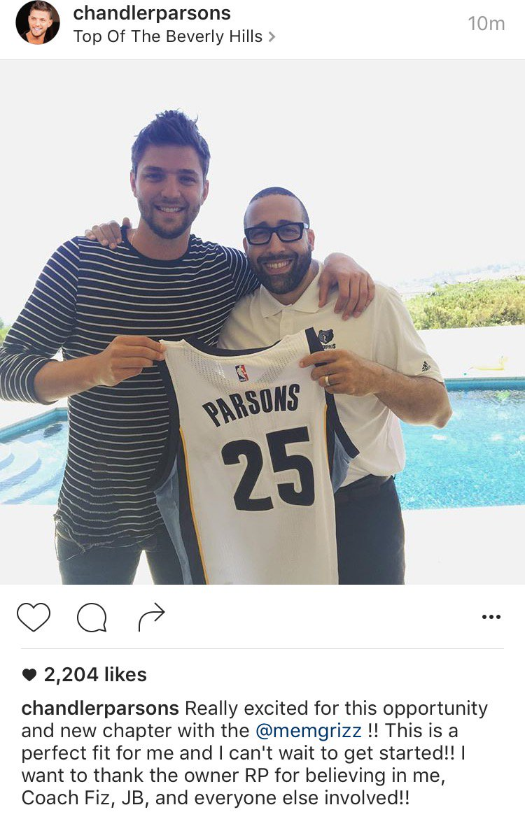 Chandler Parsons makes it official on Instagram: He's a Memphis Grizzly. https://t.co/oOiVVYpp22