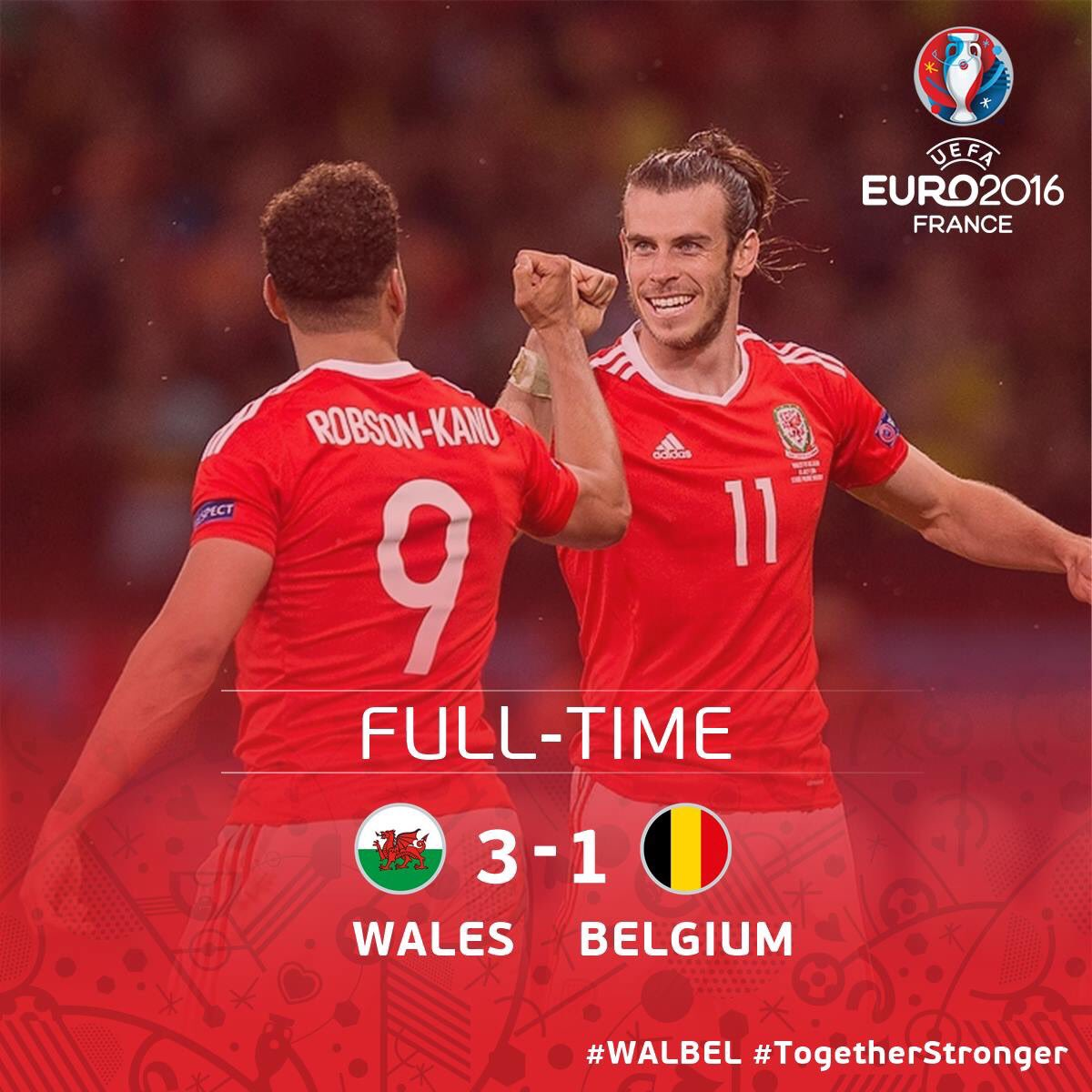 THE MOST FAMOUS NIGHT IN WELSH FOOTBALL HISTORY #WAL  3-1 #BEL  WE ARE INTO THE SEMI-FINALS!!!! #TOGETHERSTRONGER https://t.co/LIHCyXtAce
