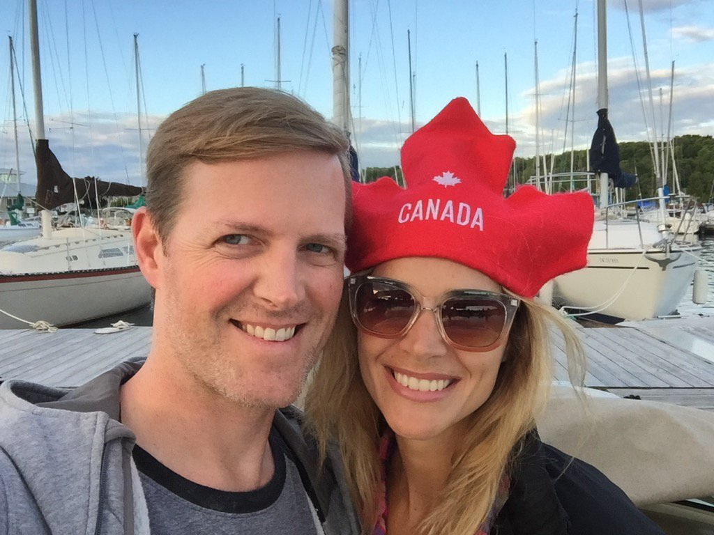 Jennifer Hedger and Sean McCormick celebrating Canada Day from Lion's Head, Ontario
