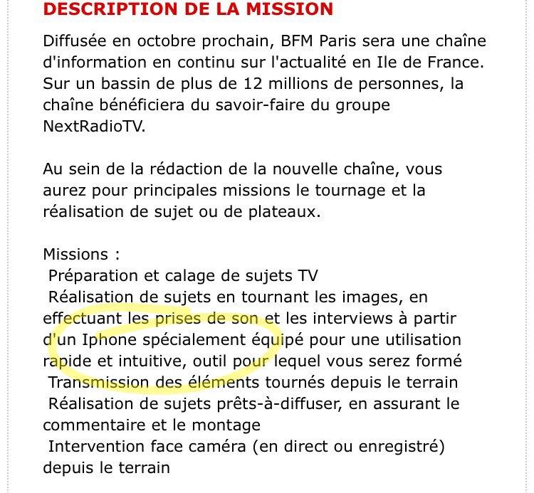La future chaîne BFM Paris tournera ses images à l'iPhone. https://t.co/BKNpW8Mm16