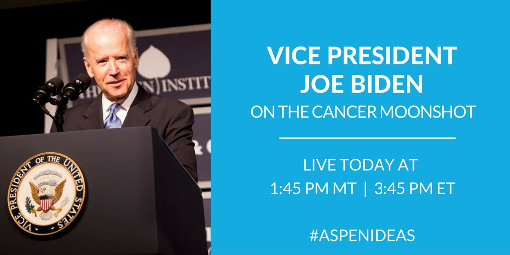 Looking forward to hearing @VP Biden talk #CancerMoonshot today at #AspenIdeas. Watch Live: https://t.co/gM59rRqXXW https://t.co/96CQE05vfW