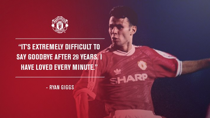 """I cannot tell you how much I'll miss walking out at Old Trafford."" - Ryan Giggs   #GiggsLegend"