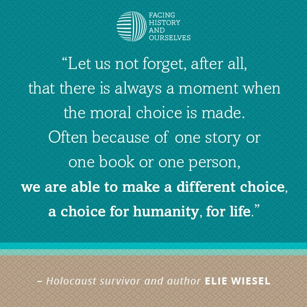 Facing History mourns the loss of Holocaust Survivor and Nobel Laureate, Elie Wiesel. https://t.co/BIZZ8JihbU