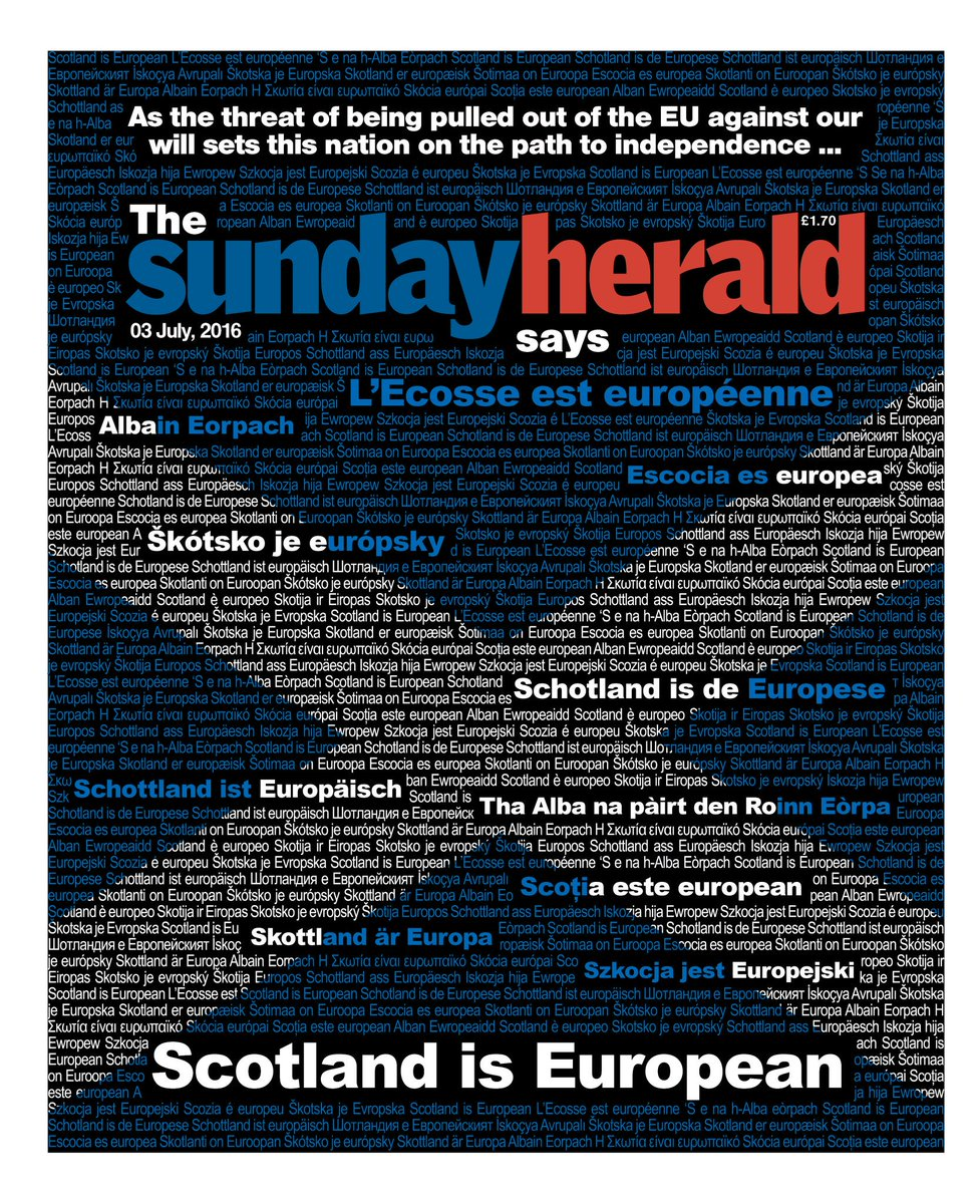 """Scotland is European.' Multilingual & internationalist front page of this weekend's @newsundayherald. https://t.co/FI8Nju2d3w"