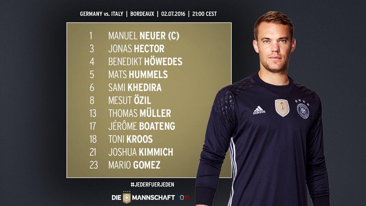 Германия - Италия. Немцы играют 3-4-3, Стураро заменил де Росси - изображение 1