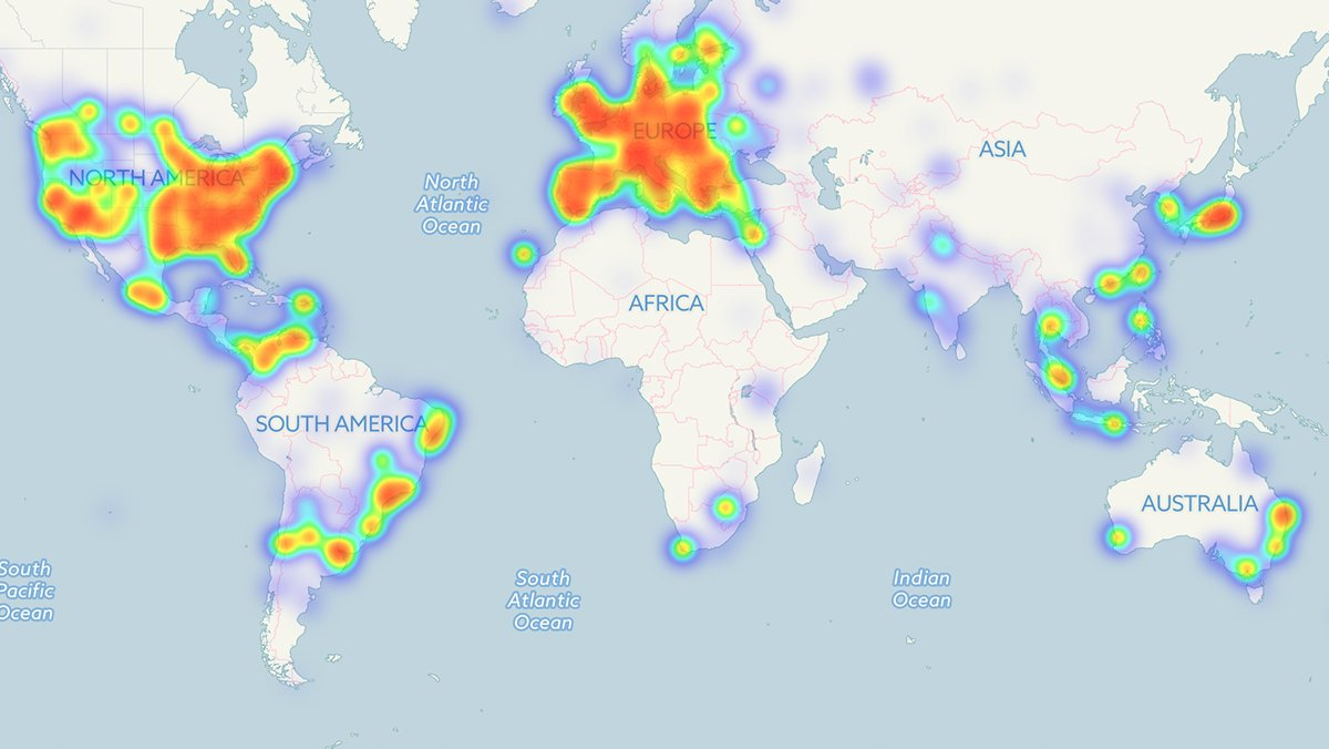 Heatmap showing concentration of merchants accepting #Bitcoin. https://t.co/QdOON9FkL2