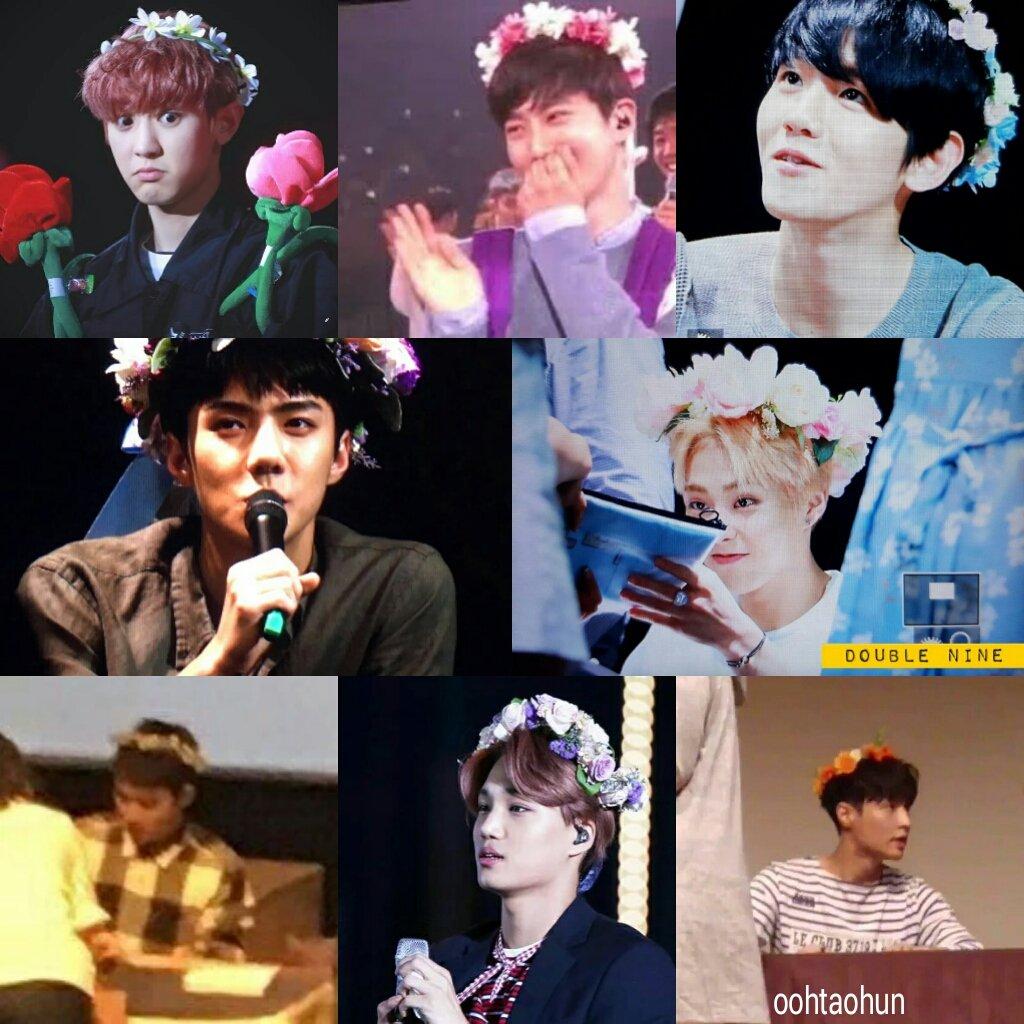 Exo Kings On Twitter Jongdae Wearing A Flower Crown So It Means
