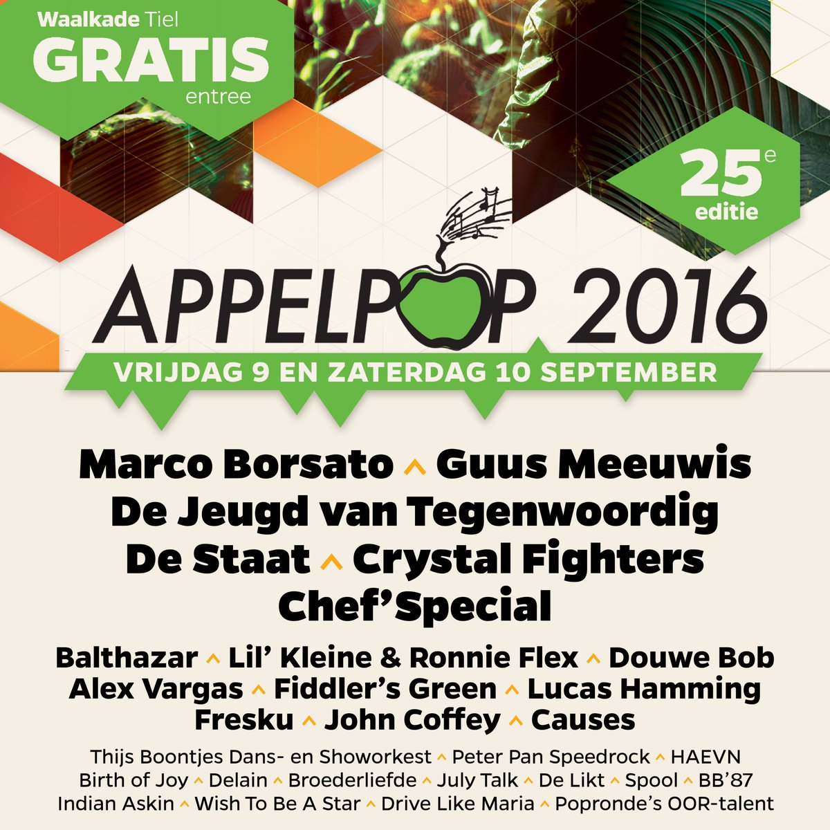 De volledige line-up van de 25e editie van Appelpop is bekend! #Appelpop2016 #gratis #festival https://t.co/CEdj2XXAPO