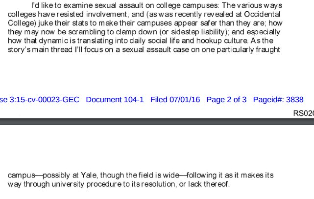 Erdely initial pitch: Occidental- as institution *unfriendly* to accusers. Again: thesis decided before reporting: https://t.co/9Cp3nyruAX