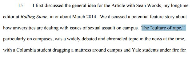 Erdely admits she had decided her thesis--existence of campus rape culture--before even beginning her reporting: https://t.co/ONJsdFJ8O2