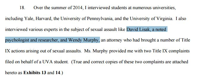 "The first two ""experts"" Erdely consulted:Wendy Murphy & David Lisak. Doing poor job of defending against bias claim https://t.co/bFJekAR4kO"
