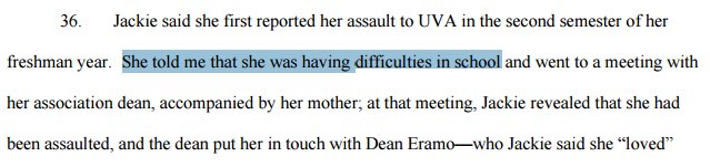 Per Erdely, Jackie's motive for initial report to UVA: she was doing badly in school, & needed an accommodation: https://t.co/uV2inj9QlL