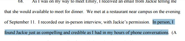 "True-believer Erdely finds fabulist Jackie ""compelling and credible."" What could go wrong? https://t.co/RMHmeXVvIj"
