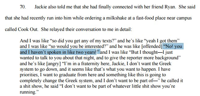 Erdely not at all curious that person Jackie had described as campus friend is someone she hadn't seen in 2 yrs. https://t.co/TWlI6eNKMA