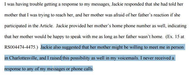 Erdely not curious that the 2 people who could confirm Jackie's story--her mother & her friend--are incommunicado: https://t.co/nPL3k4Itoh